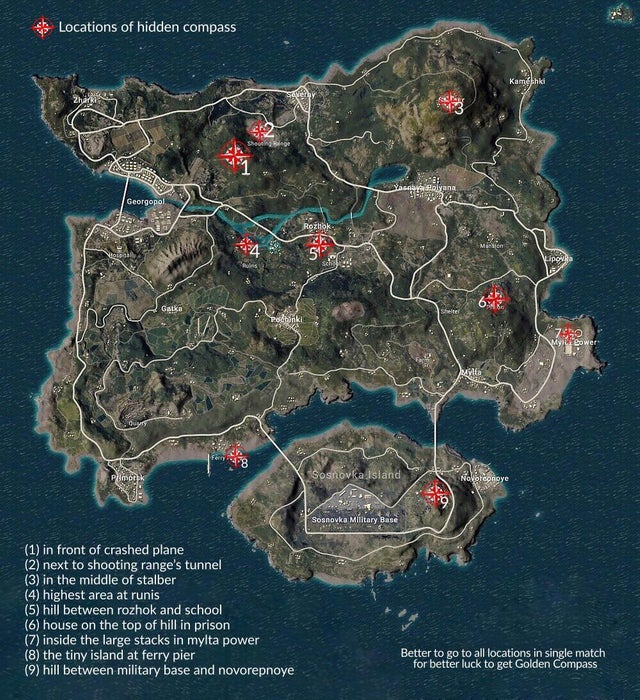 Pubg Mobile Compass Locations | How to get Golden Compass
