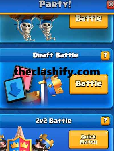 Clash Royale PArty button