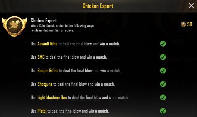 Pubg Mobile Chicken Expert Achievement Tips 2019