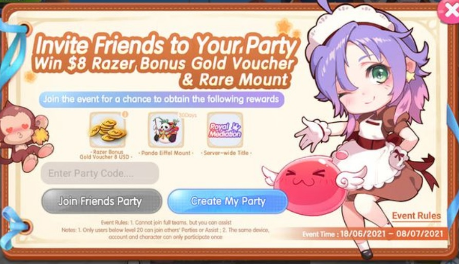 Ragnarok X Next Generation Party Code for Event