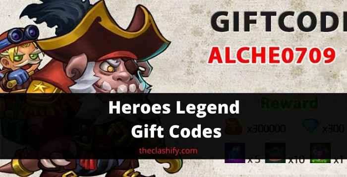 Heroes Legend Gift Codes 2021 September